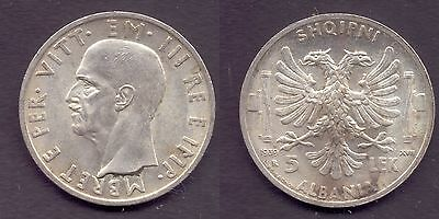 1939 Albania WWII Italian Occupation silver  5 lek-rare and super nice