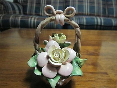 "Vintage Capodimonte Flower Basket 4 1/2"" tall Bow Handle"