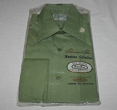 Duron Bardon 15 1/2x32 Dress Shirt Green Long Sleeve French Cuffs Slim Line NOS