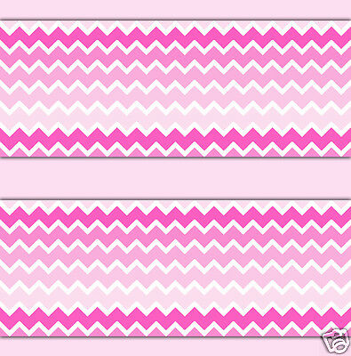 Pink Ombre Chevron Wallpaper Border Wall Art Decals Baby Girl Nursery Art Decor