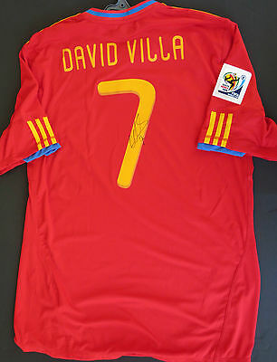 Spain - David Villa hand signed  2010 World Cup  jersey   #7   photo proof & COA