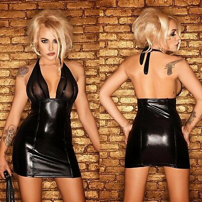 NOIR HANDMADE Neckholder Wetlook Dress Lackkleid GOTHIC CLUBWEAR PARTY
