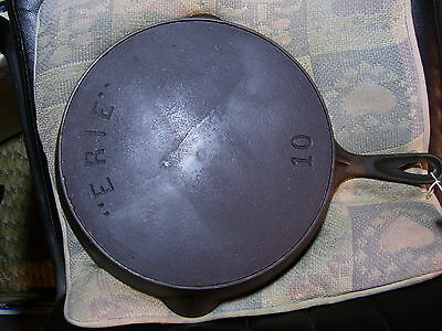 "#10 ""ERIE"", Pre Griswold, Cast Iron Skillet,  Smoke Ring, Clean"