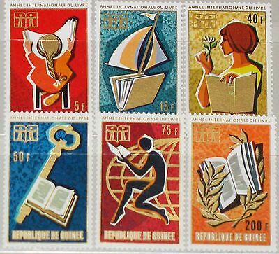 GUINEA 1972 634-39 612-17 Intl. Book Year Jahr des Buches Reading Child MNH