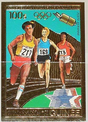 GUINEA 1983 934 B 844A Gold Foil Running Olympics 1984 Los Angeles Olympia MNH
