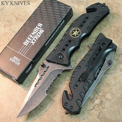 """8"""" Special Forces STONE WASHED BLADE Assisted Open Rescue Pocket Knife 7346 zix"""