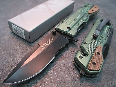 """8"""" 9mm M9- Army Green Assisted Open Rescue Pocket Knife PK-865ARG zix"""