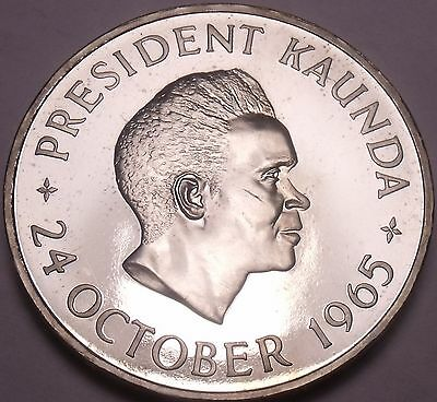 Rare Proof Zambia 1965 5 Shillings~1st Anniversary Of Independence~Free Ship