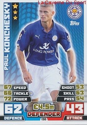 130 Paul Konchesky # Leicester City.fc England Card Match Attax 2015 Topps