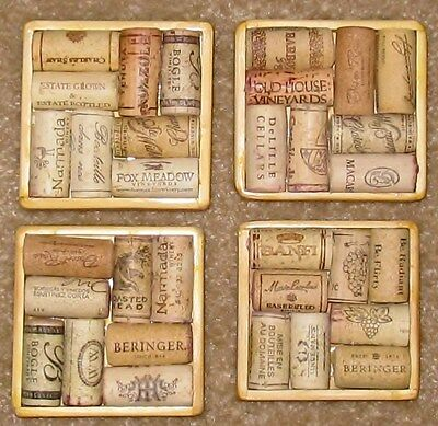 Wine Cork Coaster Set--Natural, USED corks. Unique Gift. Artisan made and signed