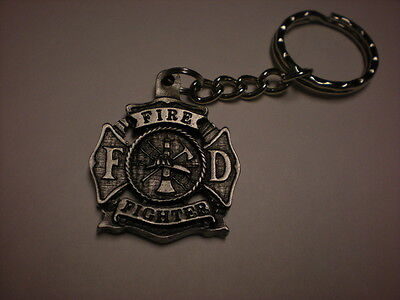 VINTAGE *****FIREFIGHTER KEYCHAIN  **FANTASTIC **  VERY DETAILED   PEWTER