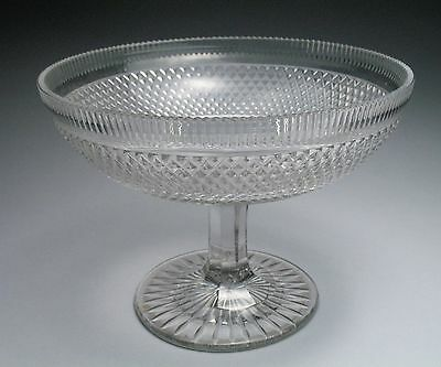 Beautiful Brilliant Antique Early 19c. Cut Crystal Anglo-Irish Pedestal Compote