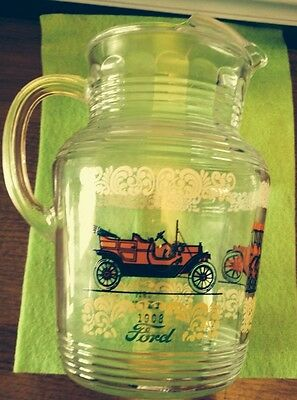 VINTAGE 1950s Antique Autos Cars Glass Pitcher Hazel Atlas Gas Station Promotion