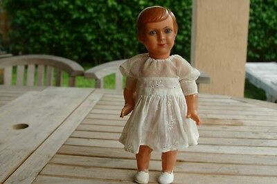"""Antique French Celluloid Doll Glass Eyes Marked 12"""""""