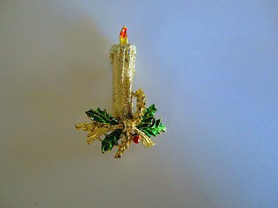 signed Gerry candle Christmas vintage pin brooch enamel gold tone