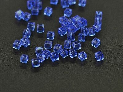 100pcs 3mm Faceted Cube Square Crystal Glass DIY Crafts Findings Beads Deep Blue