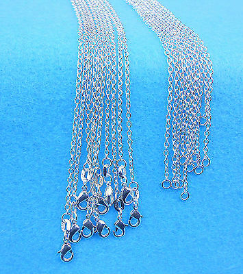 Wholesale 10PCS Fashion Jewelry Rolo 925 Sterling Silver Plated Necklaces Chain