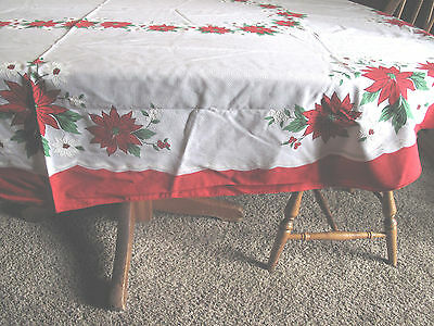 "Christmas Poinsettia tablecloth Vintage from the 60's-70's Oval 80x60""  EUC"