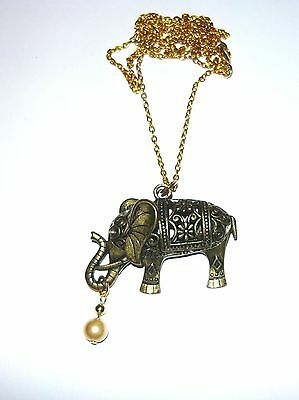 Beautiful antique bronze elephant necklace  with pearl drop 30""