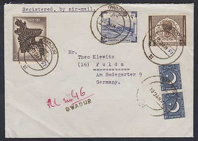 1957 Pakistan GUADUR Gwadar R-Cover to Germany (Muscat Oman), rare [ca548]