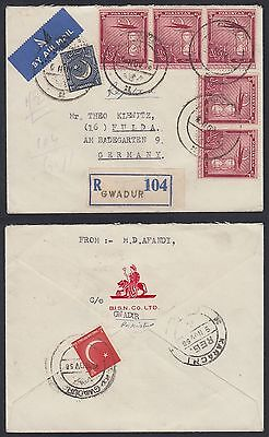 1958 Pakistan GUADUR Gwadar R-Cover to Germany (Muscat Oman), rare [ca549]