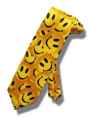 NEW YELLOW SMILEY FACES NECKTIE EMOTICONS SMILY SMILE FUNNY HUMOR TIE