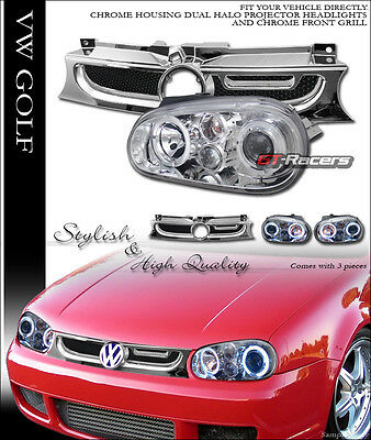 CHROME HALO PROJECTOR HEAD LIGHTS+ALUMINUM MESH GRILL GRILLE 99-05 GOLF GTI MK4