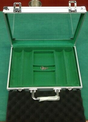 200 POKER CHIPS Acrylic / Aluminum CASE 2 Deck Card Slots and Keys for Locks*