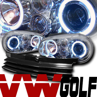 CHROME HALO PROJECTOR HEAD LIGHTS LAMPS+FRONT GRILL GRILLE 99-05 VW GOLF GTI MK4
