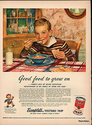 1943 CAMPBELL'S SOUP WW2 LAMINATED AD ART SAME DAY SHIPPING!!