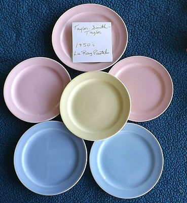 VINTAGE 6 1950s DESSERT PLATES TAYLOR SMITH LURAY PASTEL POTTERY TST DISHES OLD