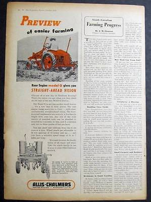 Original 1948 Allis Chalmers Model G Tractor Ad  PREVIEW OF EASIER FARMING