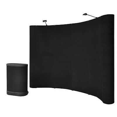 10' Ft Pop Up Trade Show Display Booth Black Podium Counter Spotlight Exhibition