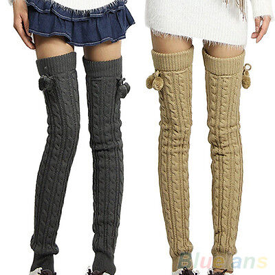 Hot Selling Womens Crochet Knitted Stocking Leg Warmers Boot Thigh High Socks