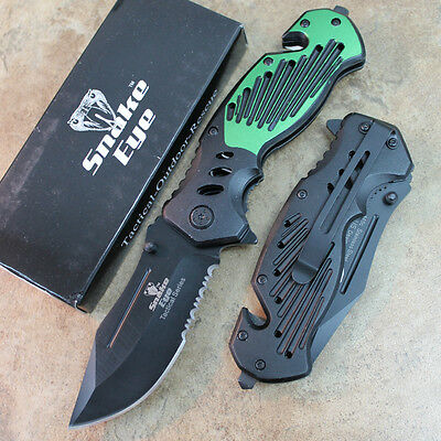"""8"""" Heavy Duty Assisted Open Tactical Rescue Pocket Knife -Green SE-940GN  zix"""