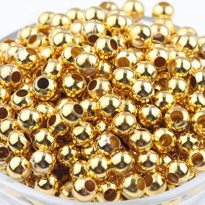 50 Pcs Gold Plated Spacer Loose Beads Findings Bracelets necklace charms 6mm