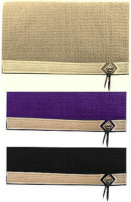 Western Horse Show Saddle Blanket Pad 100% New Zealand Wool Tan Black Purple