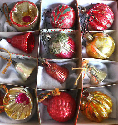 Lot Antique German Feather Tree Glass Xmas Ornaments Indent Bell Vtg Berry Melon