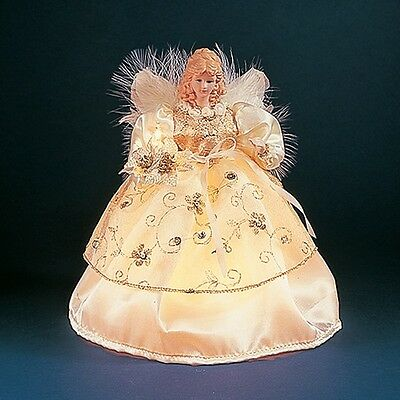 Ivory and Gold Angel with Flowers Light Up Christmas Tree Topper 10 Lights New
