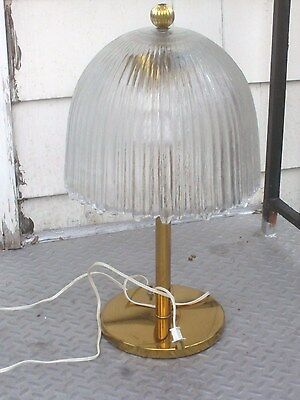 Vintage Mushroom Clear Ribbed Very Heavy Glass Lamp Brass Base RARE Beauty 24inH