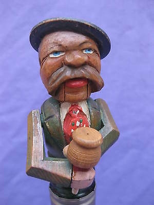 Carved Wood Bottle Stopper ~ Antique? ~ Animated ~ Moustached Man Drinking