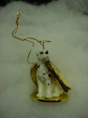 HARLEQUIN GREAT DANE dog ANGEL ORNAMENT Figurine NEW Christmas puppy UNCROPPED
