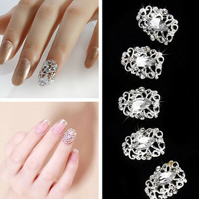 Bling Glitter 3D Acrylic Crystal Rhinestone silver Nail Art Tips Decoration 5pcs