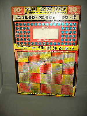 Vintage YOU WIN POT PUNCH BOARD Trade Stimulator Unused NR