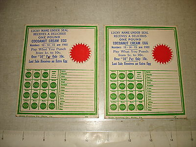 2 Old Punch Card Trade Stimulator Lot COCOANUT CREAM EGG Candy NOS