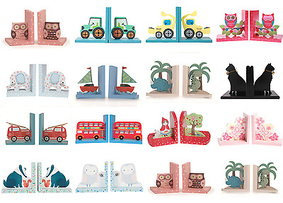 Nursery Boys Girls Childrens Kids Wooden Bookends Book Ends Bedroom Decoration