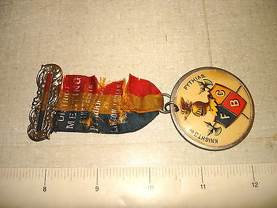c1900 Old FCB Knights of Pythias Linton IN Distric Meeting Cello Badge Ribbon