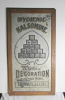 Antique metal advertising sign Hygienic Kalsomine paint early 1900's Very Rare