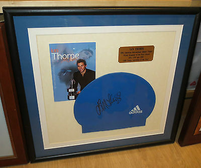 Ian Thorpe hand signed swimming cap - framed - with plaque + COA & photo proof
