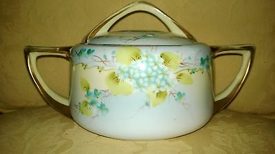 Hand painted Nippon covered bowl/ cassarole with gilt handles